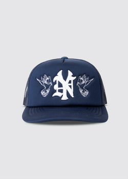 Big Apple Foam Trucker Hat // Navy Blue