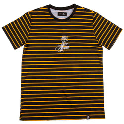 Sketched Rose Stripe Tee // Black & Gold