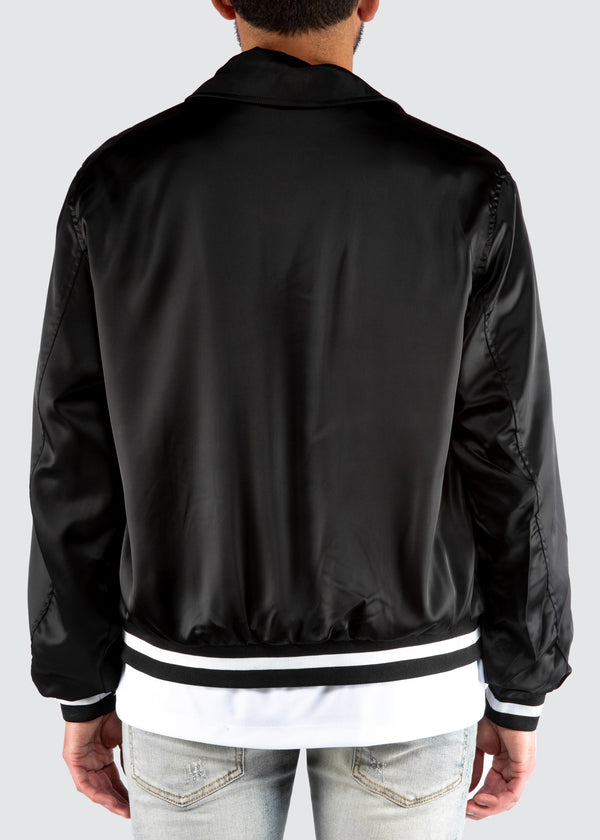 Warrior Satin Bomber Jacket // Black