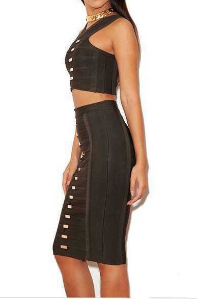"""IRIS"" Anastasia Chain-Link Two Piece Sleeveless Bandage Dress - SEXYCHIC BOUTIQUE™ - 3"
