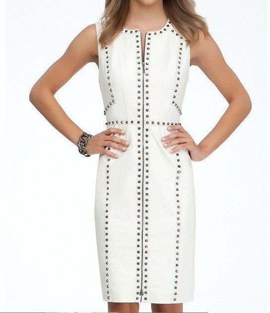 """Donia"" Sleeveless Front Zipper Studded Evening Party Bandage Dress - SEXYCHIC BOUTIQUE™"