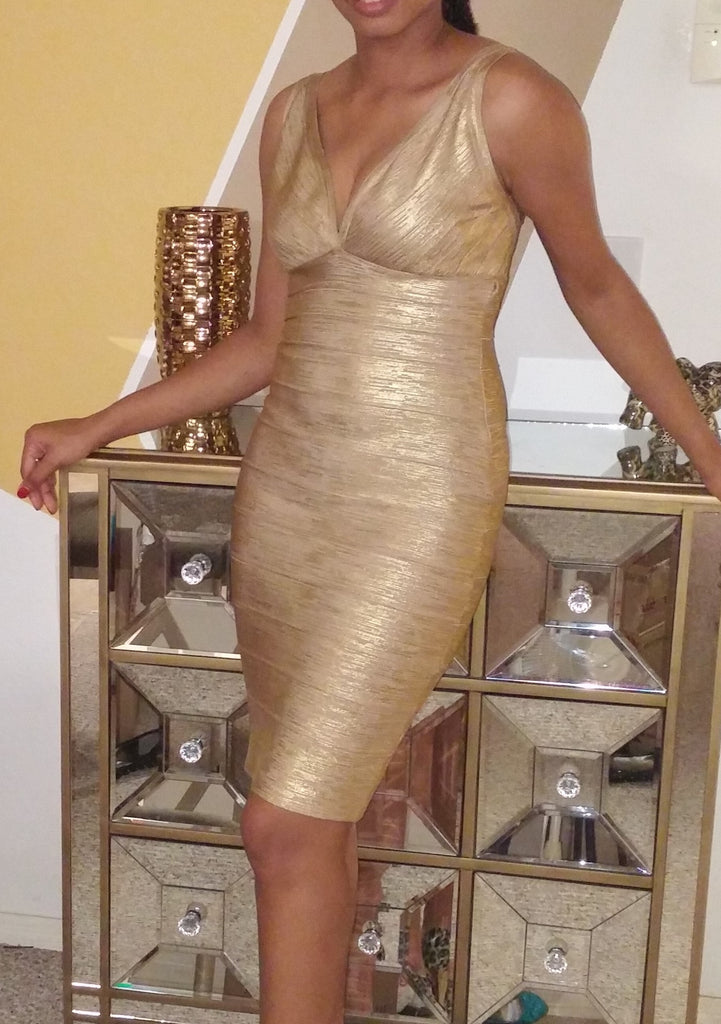 """JADA"" Mini Foil Printing Golden High Quality Bandage Dress - SEXYCHIC BOUTIQUE™ - 4"