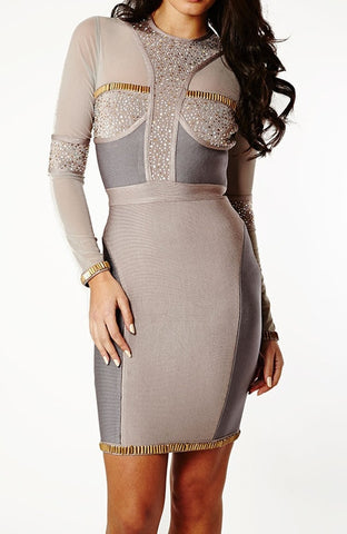 """GENE"" Strapy cap sleeve Jacquard Evening Bandage Dress"