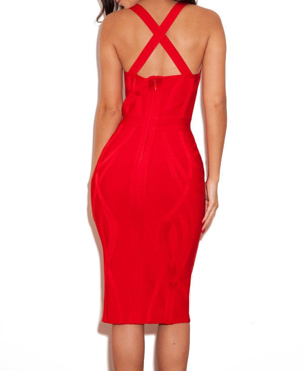 """GABBY"" Red Deep V Plunge Neck Sleeveless Bustier Bandage Dress - SEXYCHIC BOUTIQUE™ - 2"