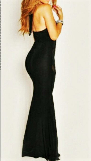 """Kelly Rowland"" Halter Neck Mesh Cut-Out Design Mermaid Bandage Gown - SEXYCHIC BOUTIQUE™ - 2"