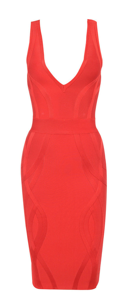 """GABBY"" Red Deep V Plunge Neck Sleeveless Bustier Bandage Dress - SEXYCHIC BOUTIQUE™ - 4"