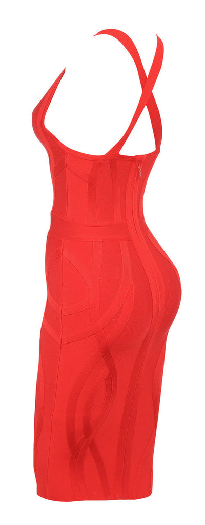 """GABBY"" Red Deep V Plunge Neck Sleeveless Bustier Bandage Dress - SEXYCHIC BOUTIQUE™ - 5"