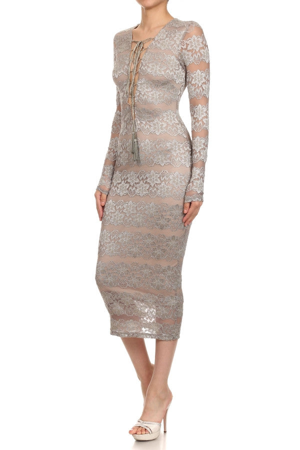 """CLAUDIA""  Lace Sheath Midi Dress"