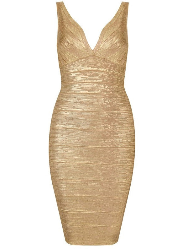 """JADA"" Mini Foil Printing Golden High Quality Bandage Dress - SEXYCHIC BOUTIQUE™ - 1"
