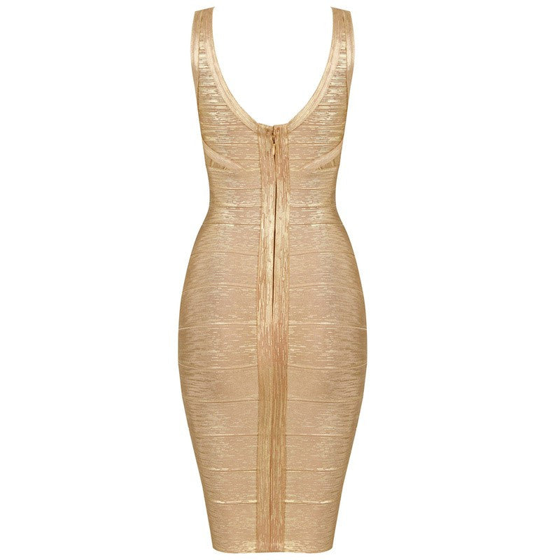 """JADA"" Mini Foil Printing Golden High Quality Bandage Dress - SEXYCHIC BOUTIQUE™ - 2"