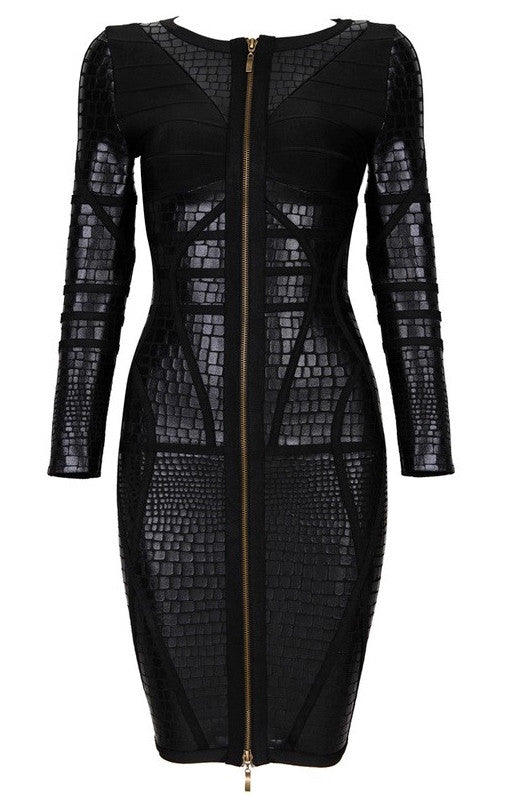 """KACHIRI"" Black Leatherette Bandage Dress - SEXYCHIC BOUTIQUE™ - 1"