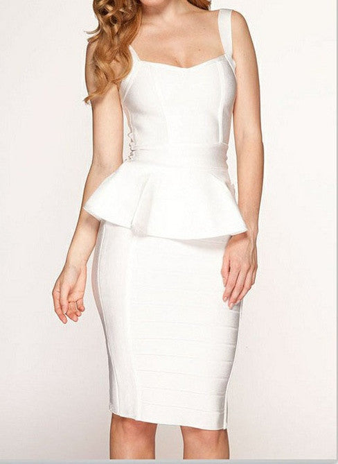 """HALEY"" Sleeveless 1 Piece White High Quality Bandage Dress - SEXYCHIC BOUTIQUE™ - 1"