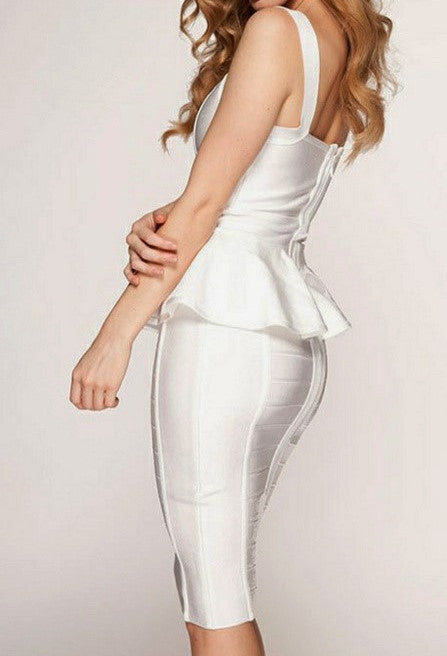 """HALEY"" Sleeveless 1 Piece White High Quality Bandage Dress - SEXYCHIC BOUTIQUE™ - 2"