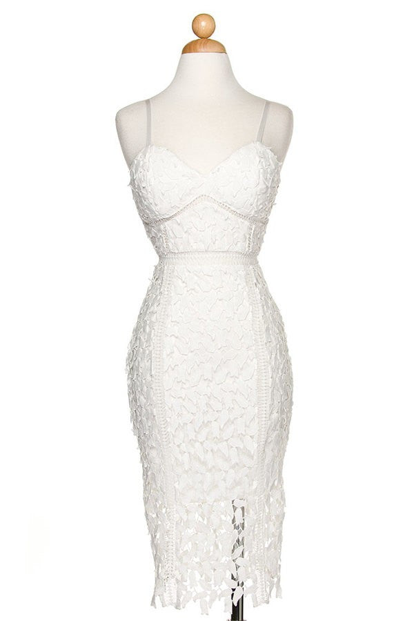 """Haley"" Crochet lace midi dress with corset bodice"