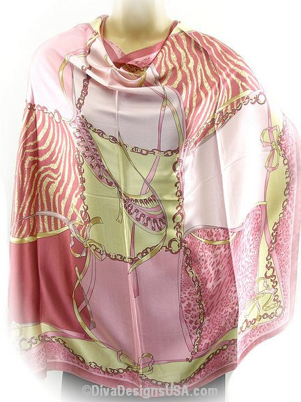 Soft Pink Square Silk Scarf - SEXYCHIC BOUTIQUE™ - 2