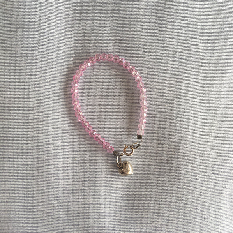 Collectables America Pink Crystal Bracelet w/ Hearts 4.5""