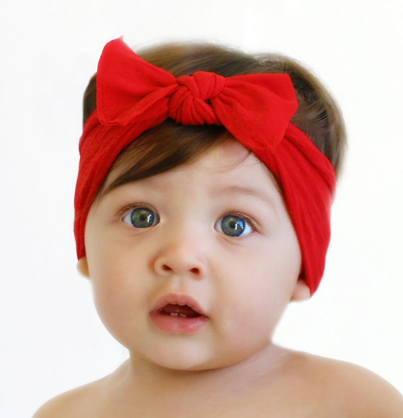 Baby Bling Solid Knot Headband Cherry