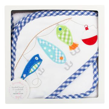 3 Marthas Hooded Towel and Wash Cloth Gift Set, Fishing Pole