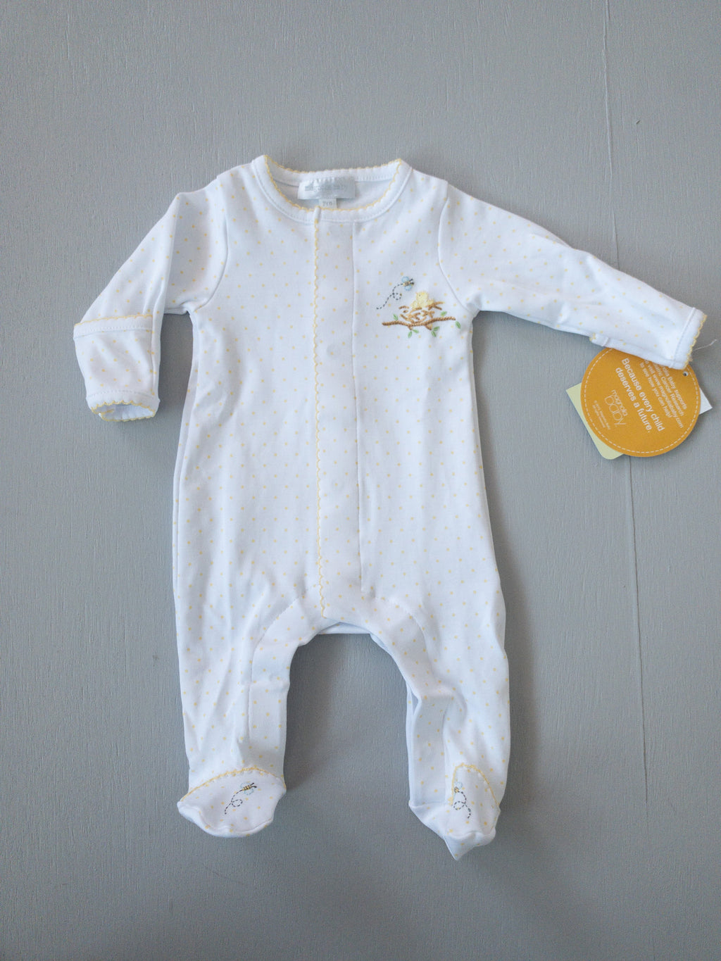 Magnolia Baby Baby Bird Embroidered Footie