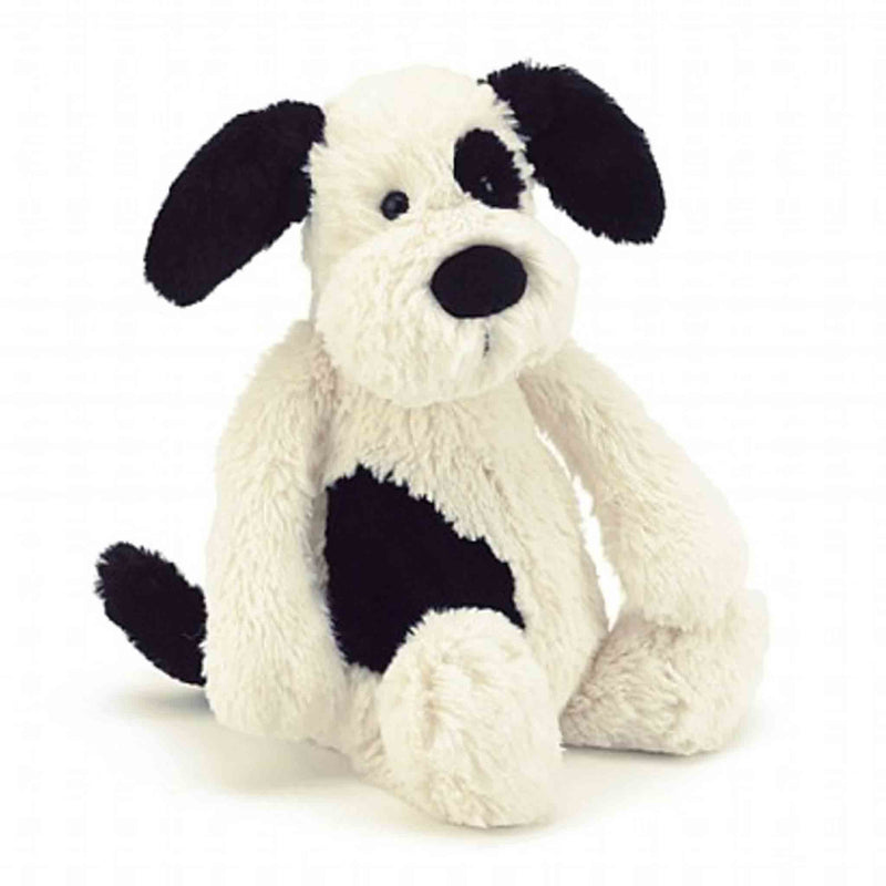 JellyCat Bashful Black/Cream Puppy Med