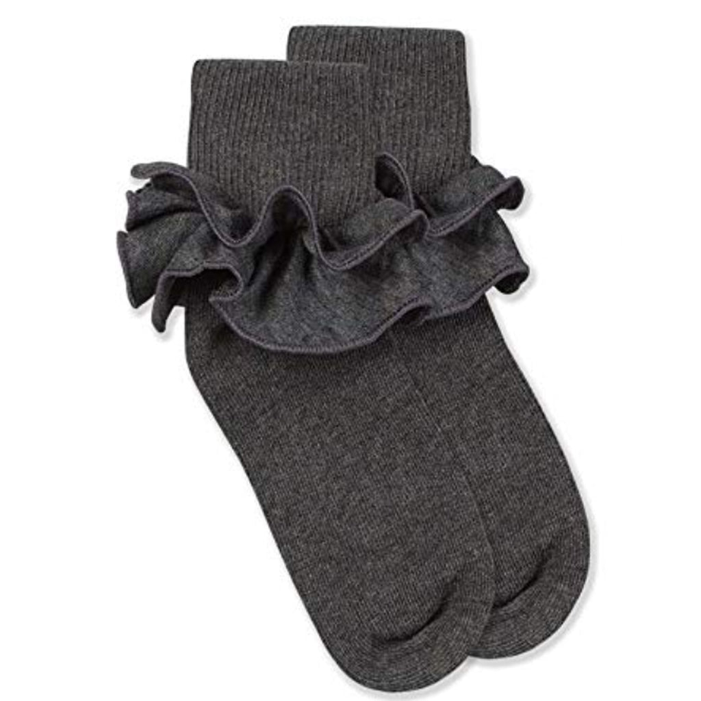 Jefferies Charcoal Ruffle Socks