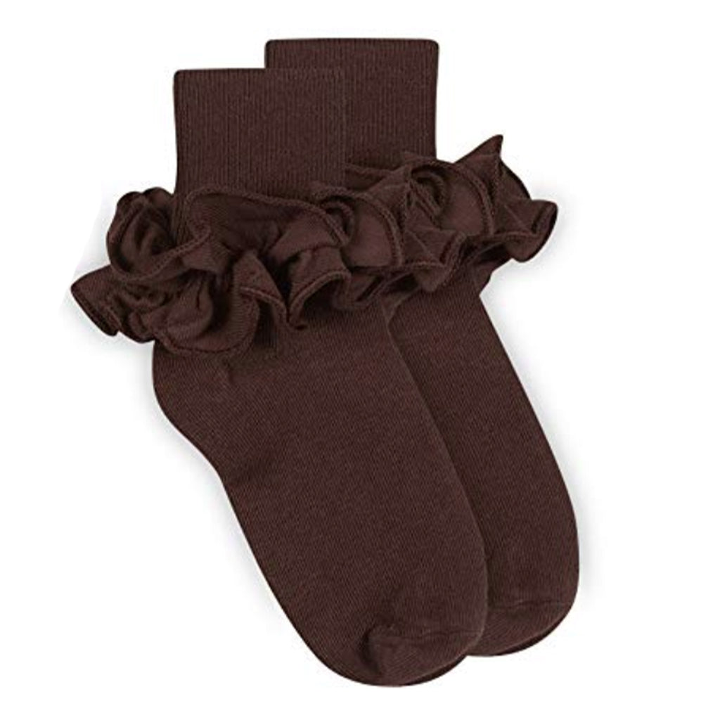 Jefferies Chocolate Ruffle Socks