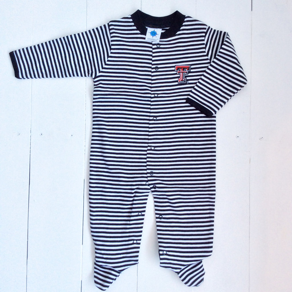 Creative Knitwear Texas Tech Stripe Footed Romper
