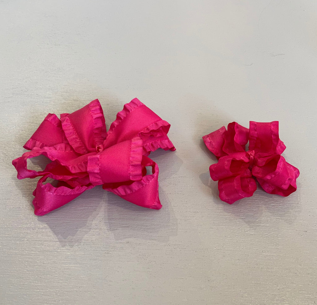 Double Ruffle Bow, Small, Shocking Pink