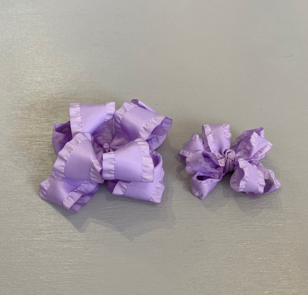 Double Ruffle Bow, Small, Lavender