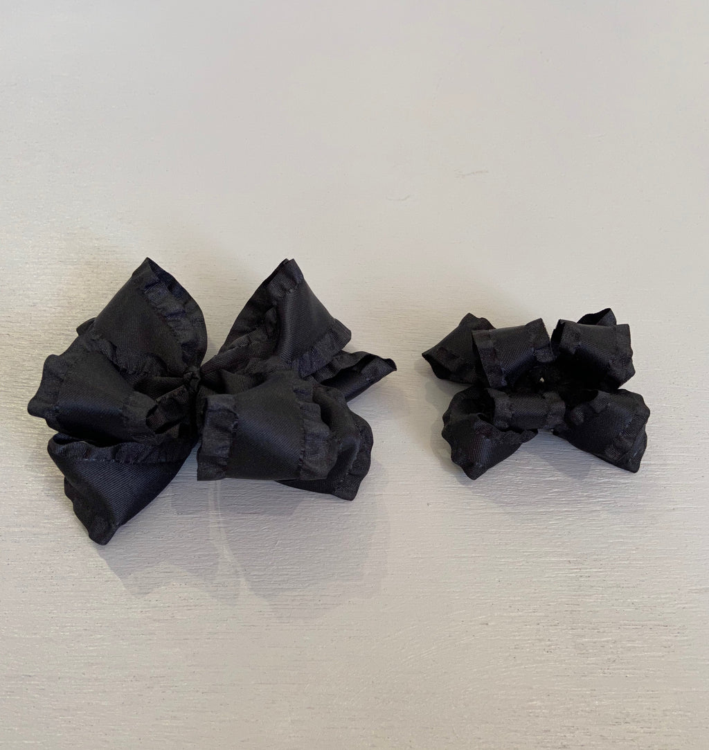 Double Ruffle Bow, Small, Black