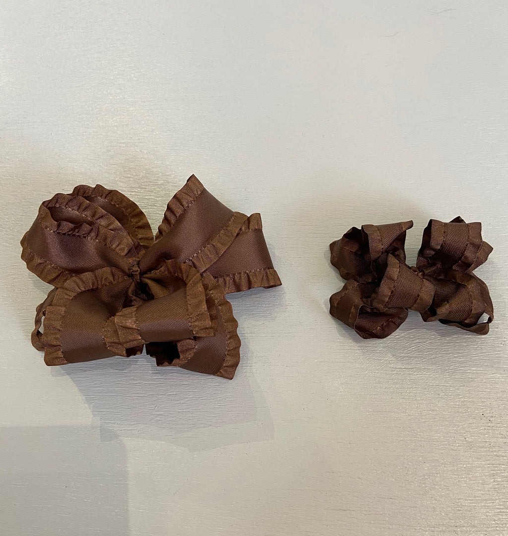 Double Ruffle Bow, Small, Brown