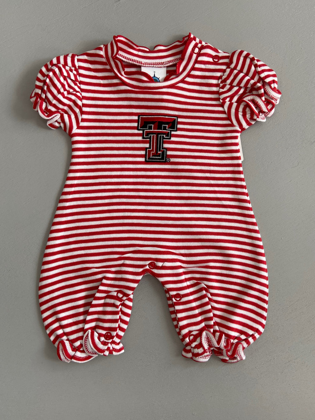 Creative Knitwear Texas Tech Stripe Bubble Romper