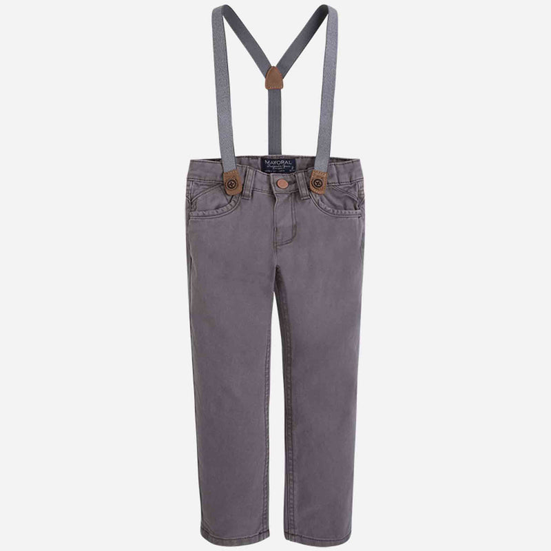 Mayoral Twill Pants W/ Suspenders