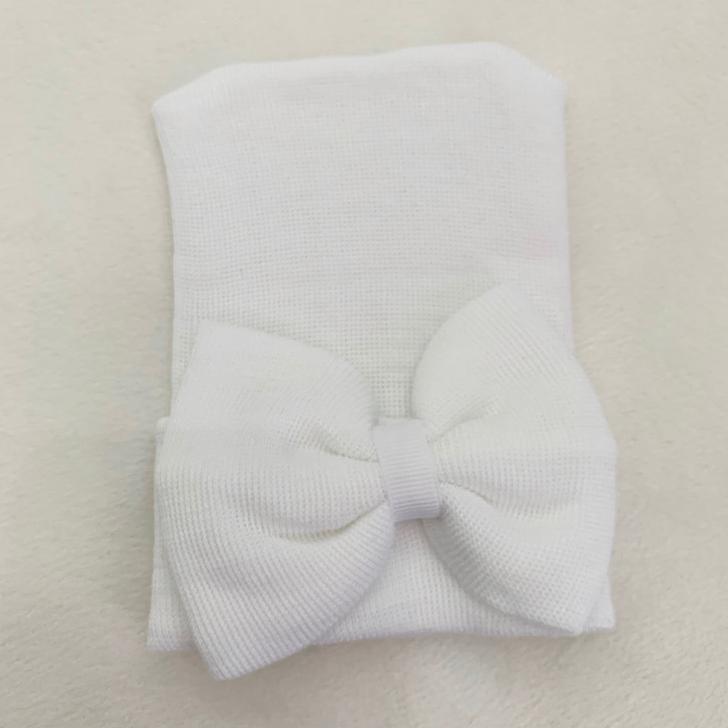 Cradle Cuties Hat, White Bow