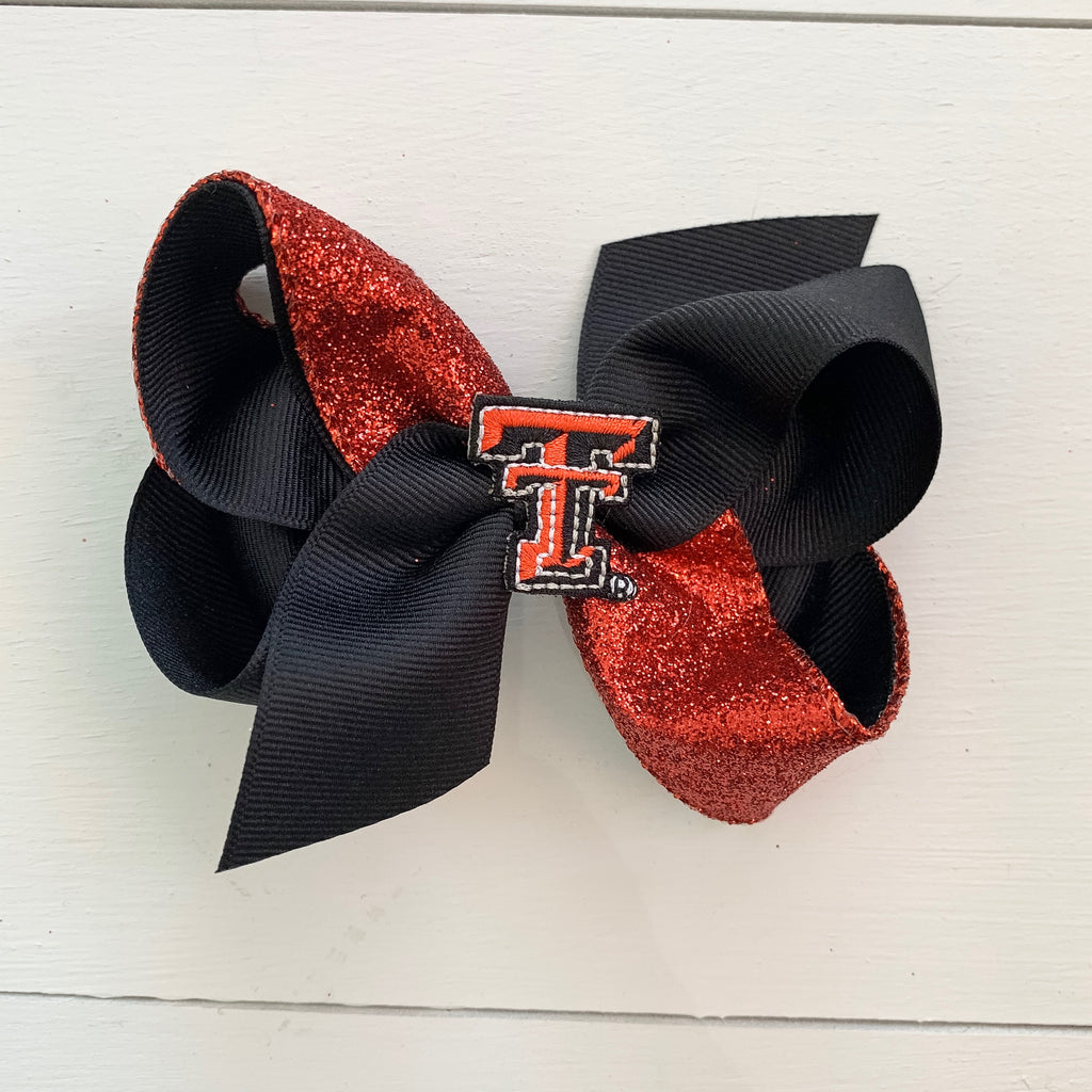 Texas Tech Medium Glitter Bow