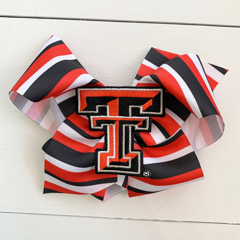 Texas Tech Stripe Bow