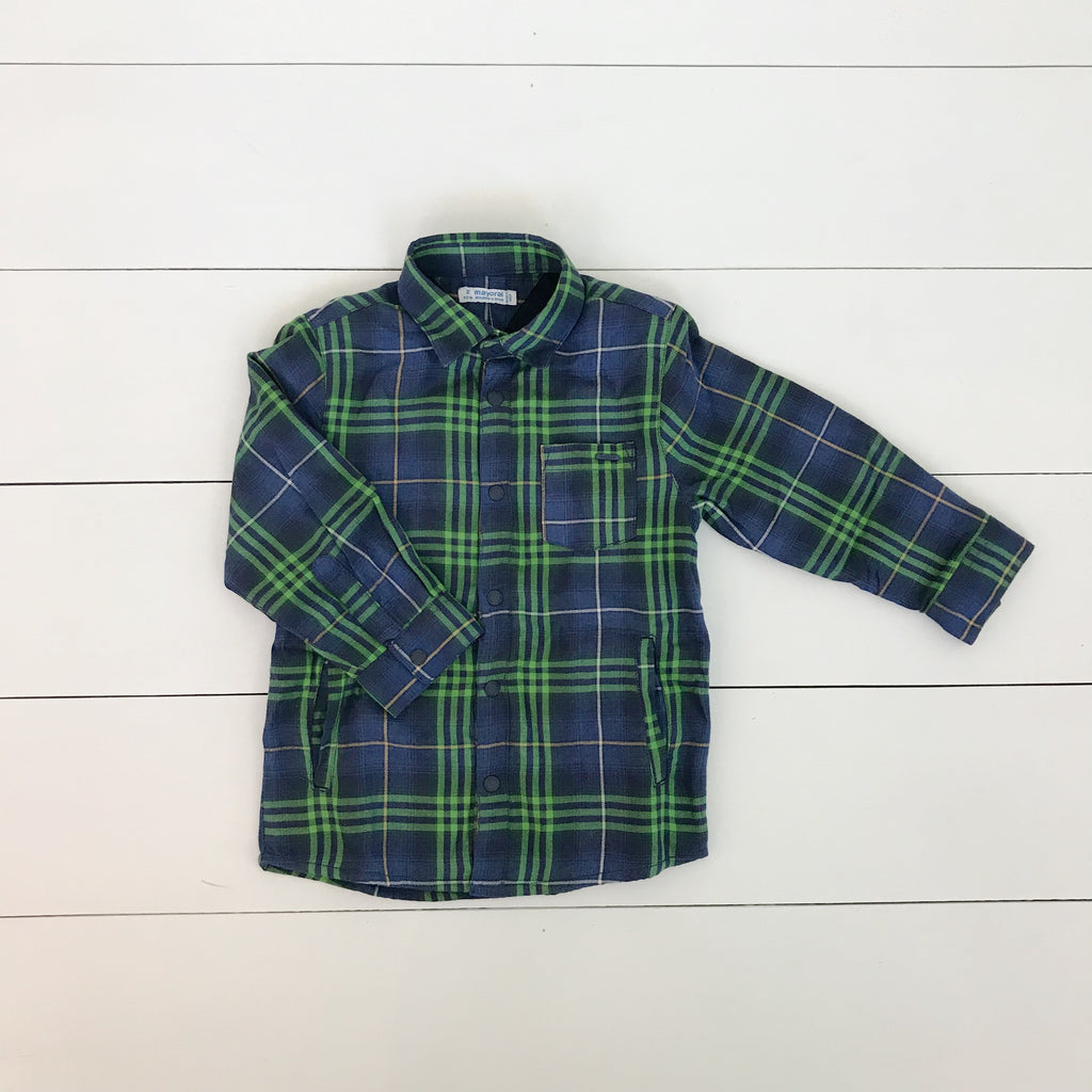 Mayoral Checked Button Down Overshirt