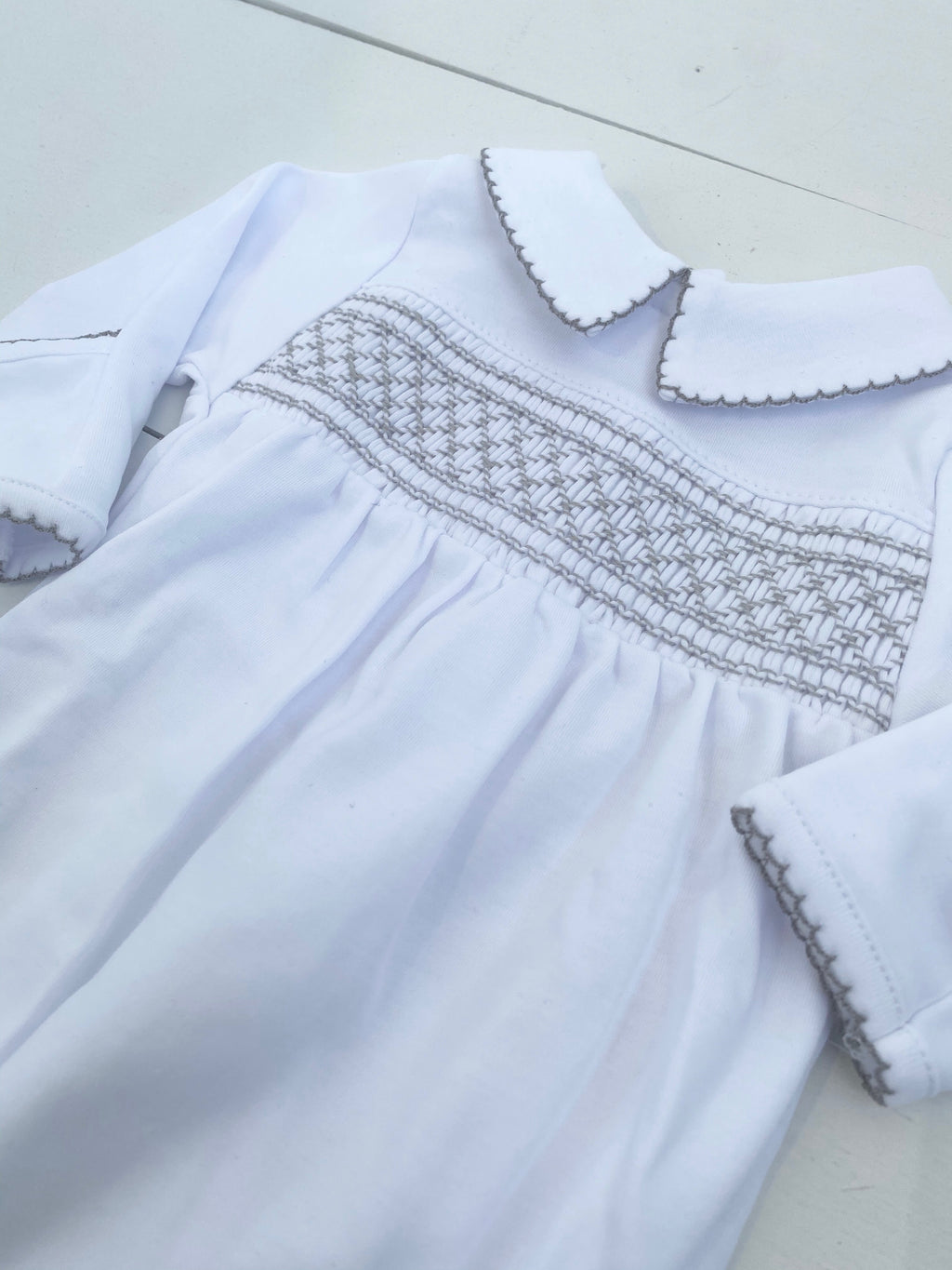 Magnoila Baby Smocked Collared Footie