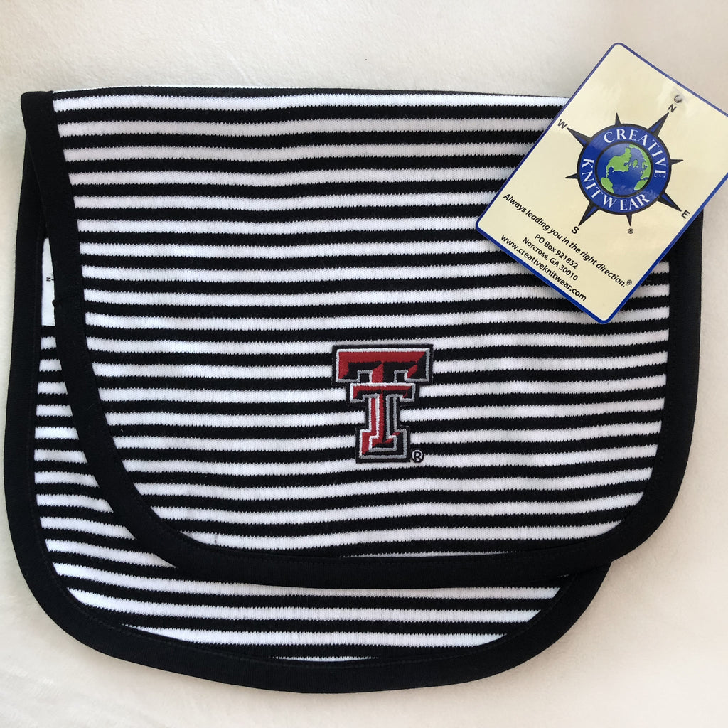 Creative Knitwear Texas Tech Stripe Burp Pad Black/White Stripe