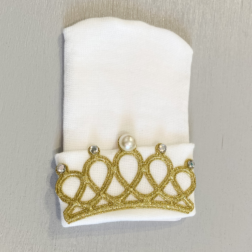 Cradle Cuties Hat, White Gold Crown