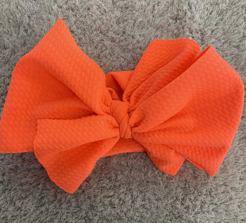 Waffle Knit Headwrap Neon Coral