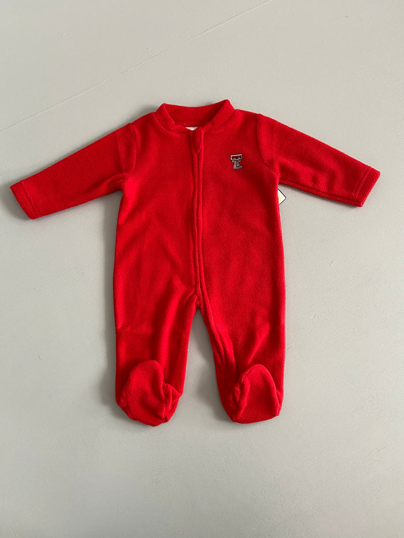 Creative Knitwear Texas Tech Fleece Footed Romper