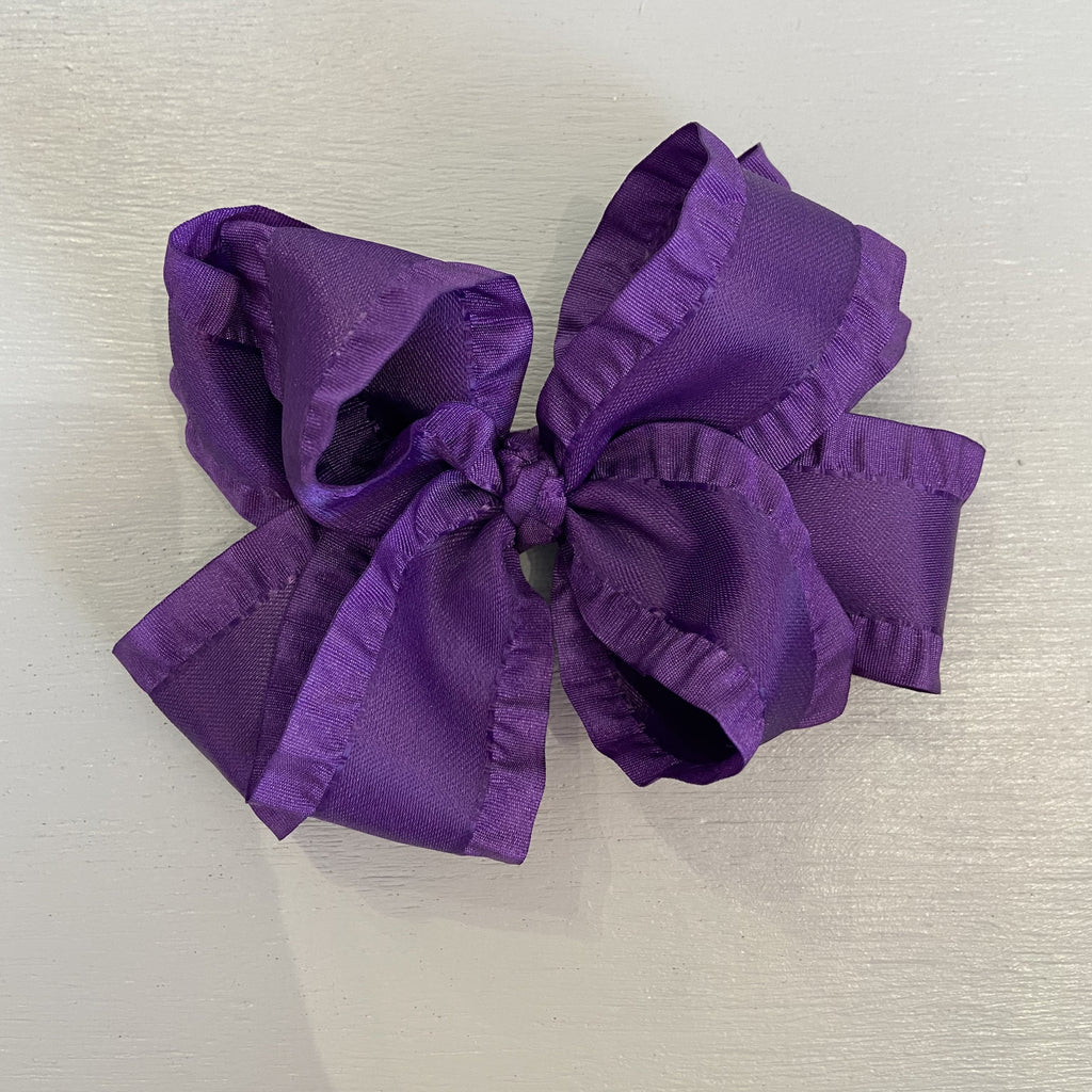 Double Ruffle Bow, Large, Purple