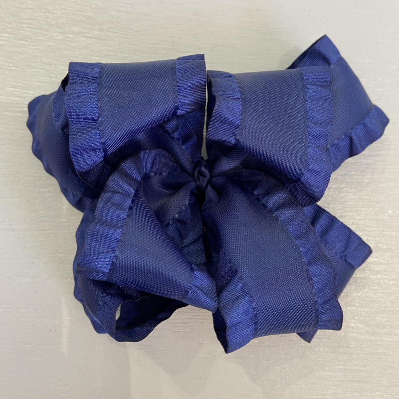 Double Ruffle Bow, Large, Navy