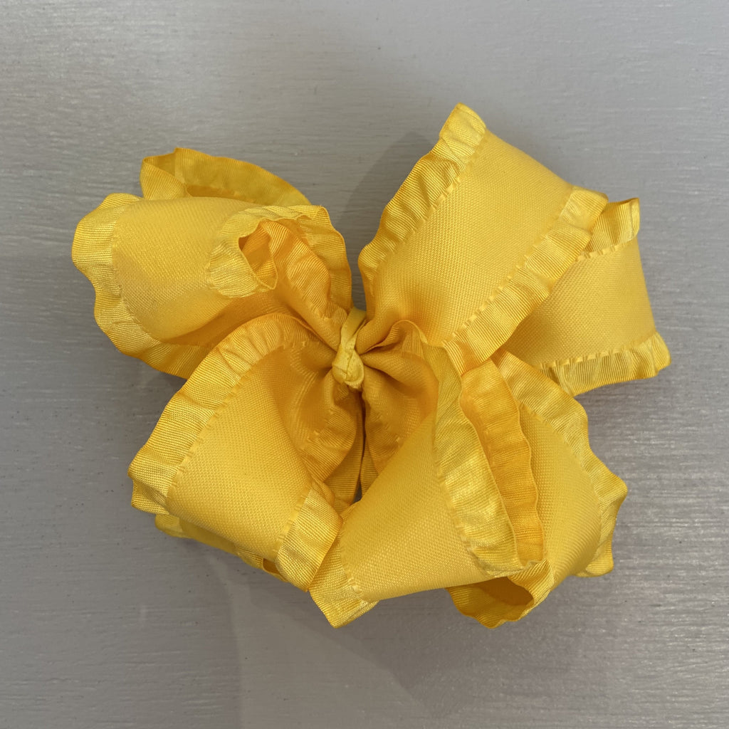 Double Ruffle Bow, Large, Yellow
