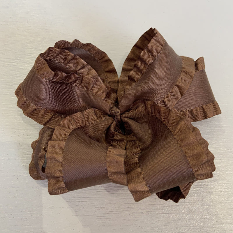 Double Ruffle Bow, Large, Brown