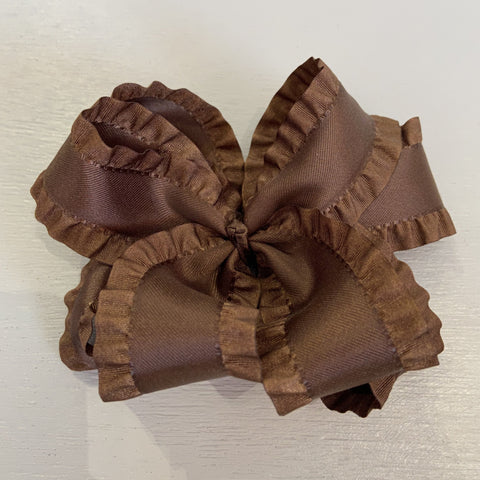 Double Ruffle Bow, Small, Purple