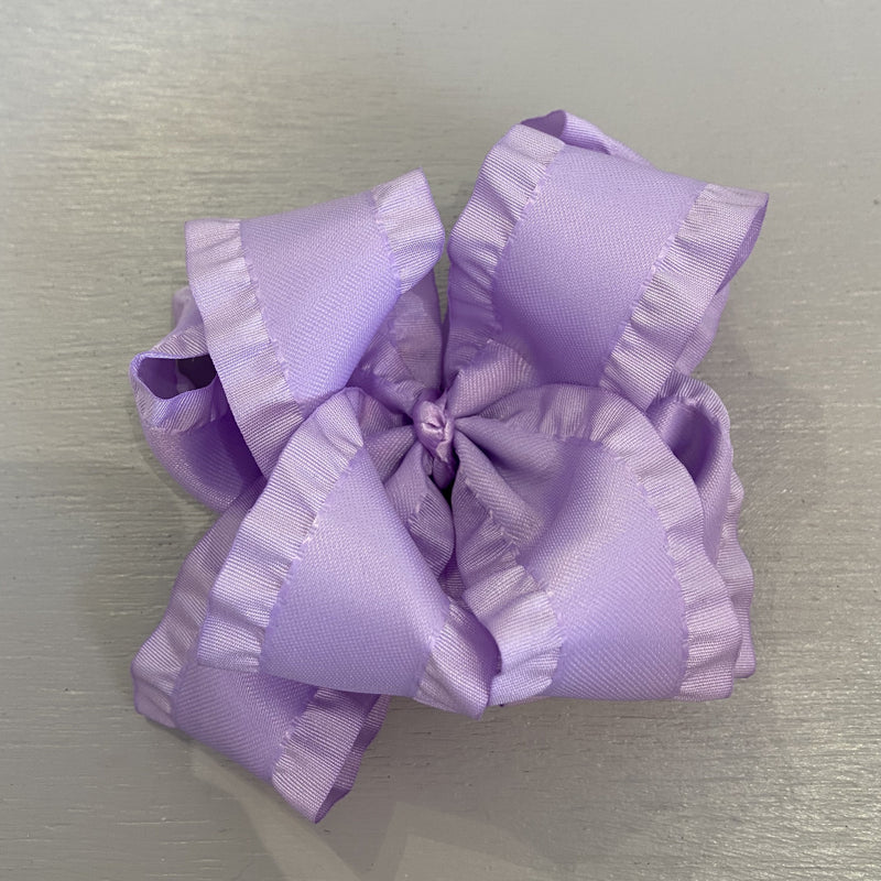 Double Ruffle Bow, Large, Lavender