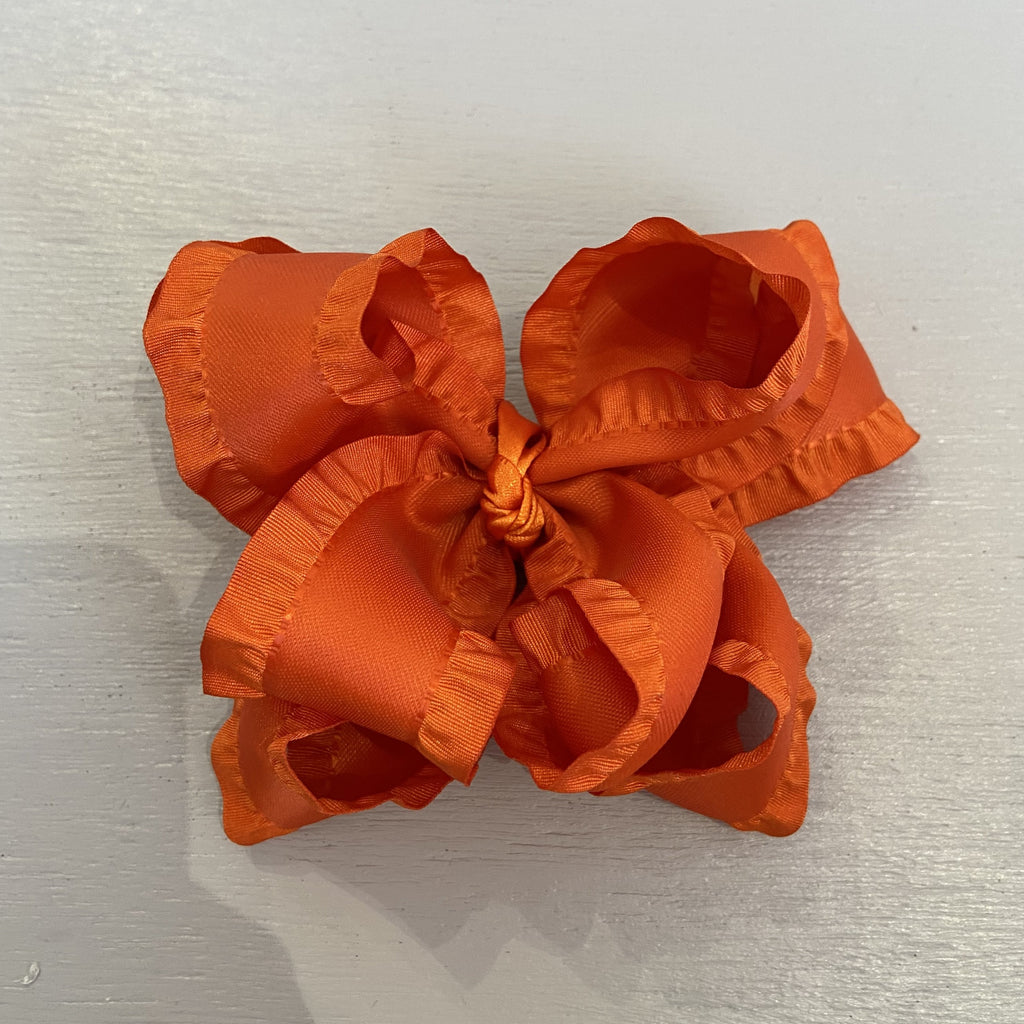 Double Ruffle Bow, Large, Orange