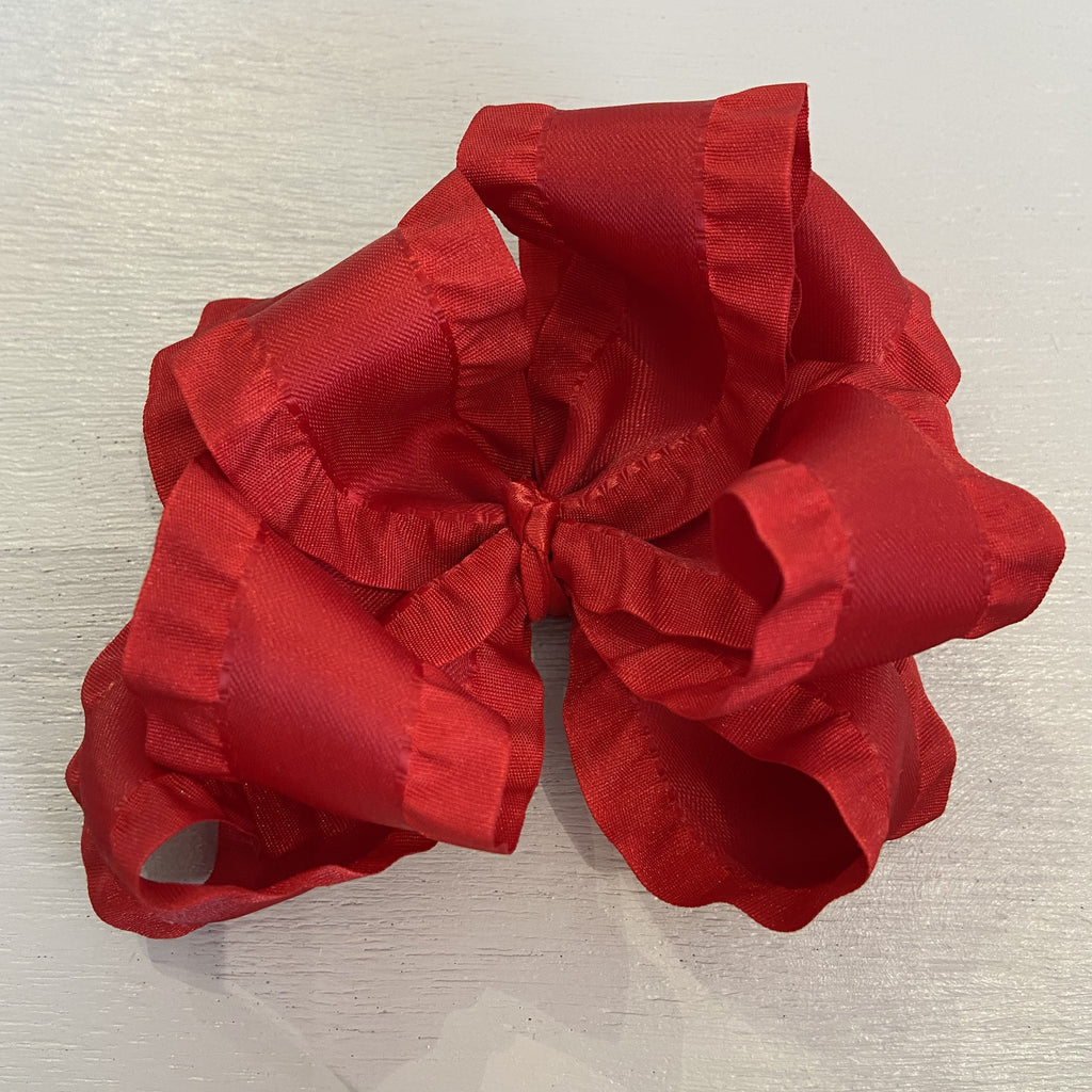 Double Ruffle Bow, Large, Red